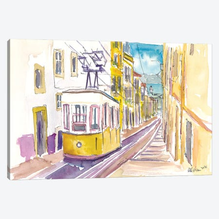 Lisbon Classical Unforgettable Yellow Tram Tour in Portugal Canvas Print #MMB343} by Markus & Martina Bleichner Canvas Wall Art