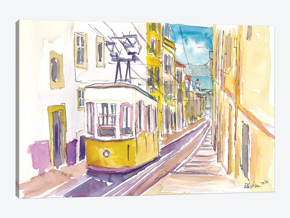 Lisbon Classical Unforgettable Yellow Tram Tour in Portugal by Markus & Martina Bleichner 1-piece Canvas Artwork
