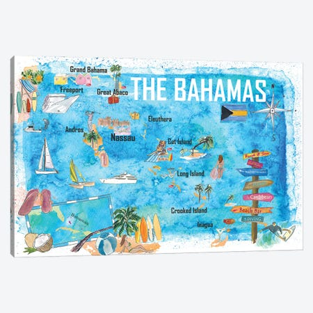 The Bahamas Illustrated Map with Main Roads Landmarks and Highlights Canvas Print #MMB344} by Markus & Martina Bleichner Canvas Art Print