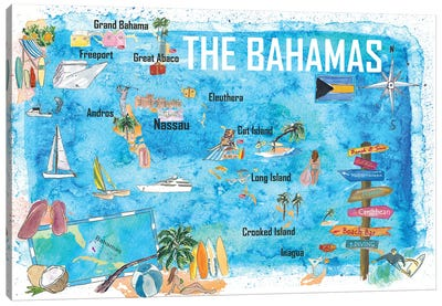 The Bahamas Illustrated Map with Main Roads Landmarks and Highlights Canvas Art Print