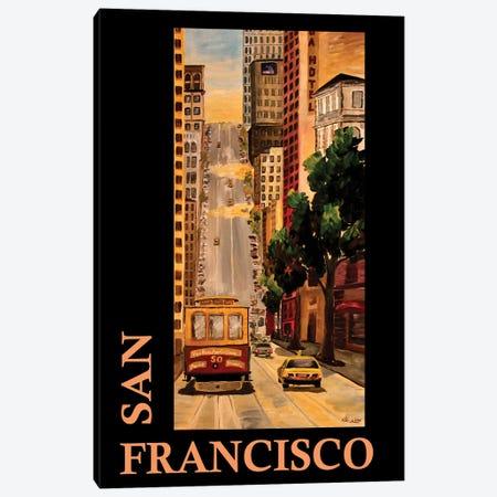 San Francisco California Classical Retro Poster Canvas Print #MMB347} by Markus & Martina Bleichner Canvas Print