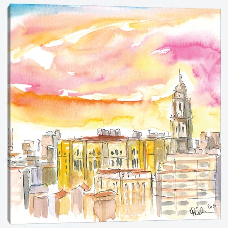 Malaga Cathedral And Mediterranean Cityscape Canvas Print #MMB348} by Markus & Martina Bleichner Canvas Art