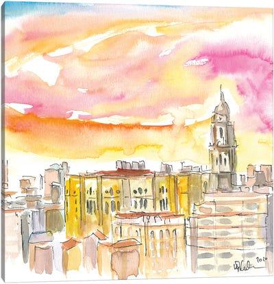 Malaga Cathedral And Mediterranean Cityscape Canvas Art Print