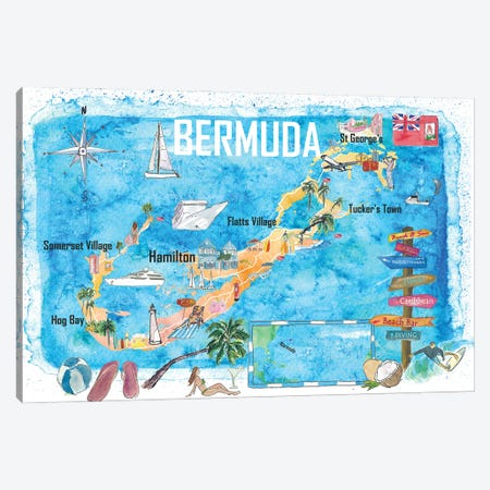 Bermuda Island Travel Poster Favorite Tourist Map Highlights Canvas Print #MMB349} by Markus & Martina Bleichner Canvas Artwork