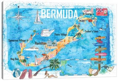 Bermuda Island Travel Poster Favorite Tourist Map Highlights Canvas Art Print