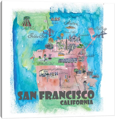 San Francisco, California Travel Poster Canvas Art Print