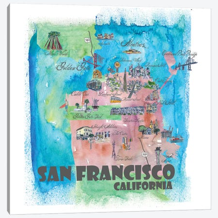 San Francisco, California Travel Poster Canvas Print #MMB34} by Markus & Martina Bleichner Canvas Print