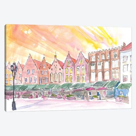 Bruges Belgium Historic Marketplace At Sunrise Canvas Print #MMB351} by Markus & Martina Bleichner Art Print