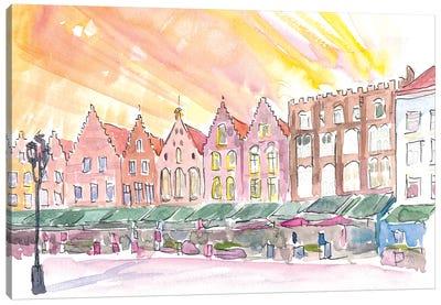 Bruges Belgium Historic Marketplace At Sunrise Canvas Art Print