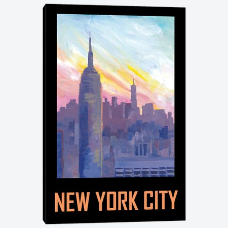 New York City USA Classical Retro Poster Canvas Print #MMB352} by Markus & Martina Bleichner Canvas Print