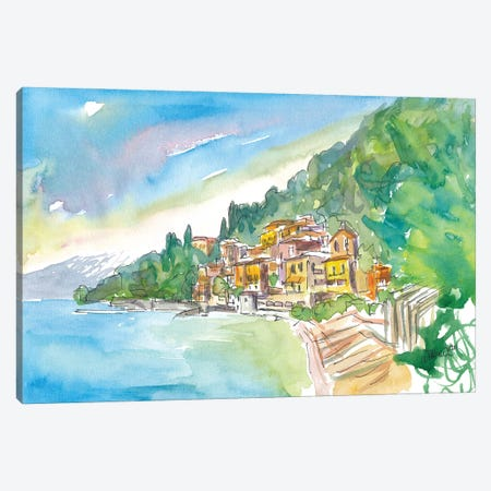 Romantic Varenna Lago Di Como Italian Lakeside Village With Mountain View Canvas Print #MMB353} by Markus & Martina Bleichner Canvas Print