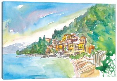 Romantic Varenna Lago Di Como Italian Lakeside Village With Mountain View Canvas Art Print