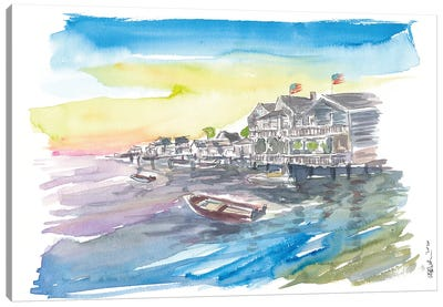 Nantucket Nautical Amazing Waterfront Scene Canvas Art Print