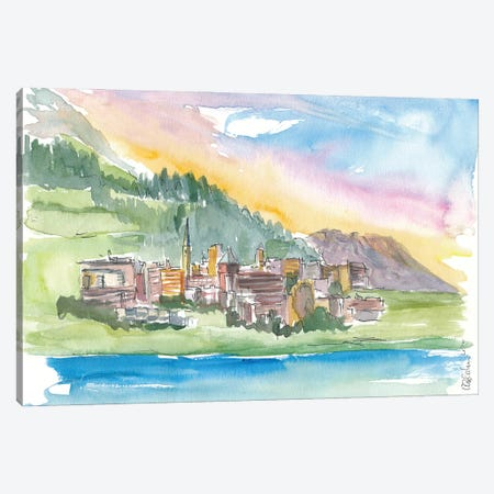 St Moritz Engadin Switzerland Alpine Style With Lake And Mountains Canvas Print #MMB356} by Markus & Martina Bleichner Canvas Artwork