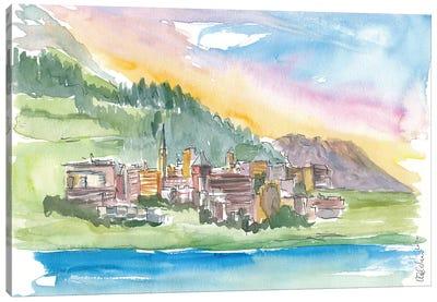 St Moritz Engadin Switzerland Alpine Style With Lake And Mountains Canvas Art Print
