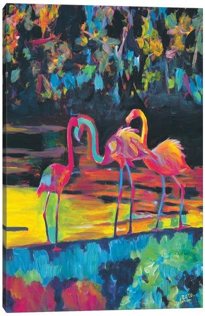 Flamingos In Impressionist Expressionist Phoenicopterus Roseus Style Canvas Art Print