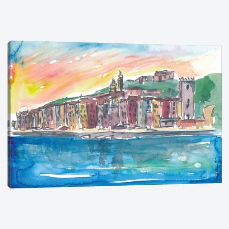 Porto Venere Mediterranean Sunset In Italy Canvas Print #MMB359} by Markus & Martina Bleichner Art Print