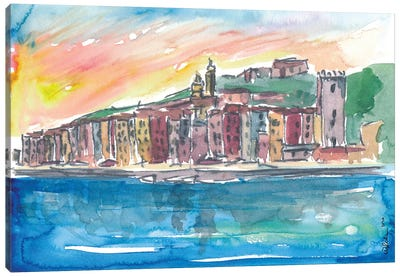 Porto Venere Mediterranean Sunset In Italy Canvas Art Print