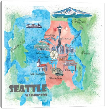 Seattle, Washington Travel Poster Canvas Art Print
