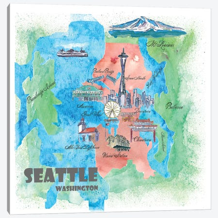 Seattle, Washington Travel Poster Canvas Print #MMB35} by Markus & Martina Bleichner Canvas Art Print