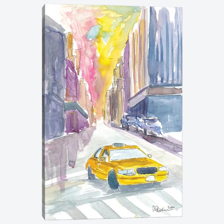 Classical Cab Street Scene In New York City Canvas Print #MMB360} by Markus & Martina Bleichner Canvas Art