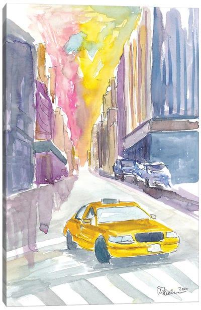 Classical Cab Street Scene In New York City Canvas Art Print