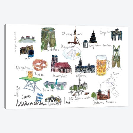 Munich Bavaria Travel Plans And Memos Souvenir Canvas Print #MMB363} by Markus & Martina Bleichner Canvas Artwork