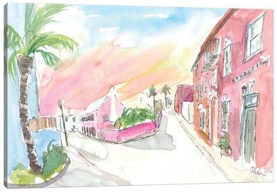 Sunny Bermuda Street Scene In St George'S Canvas Art Print
