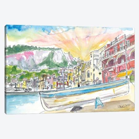 Marina Grande Boat And Port Scene On Capri Island Italy Canvas Print #MMB366} by Markus & Martina Bleichner Art Print