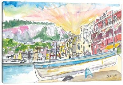 Marina Grande Boat And Port Scene On Capri Island Italy Canvas Art Print