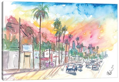 Sunset Blvd Los Angeles Rainbow Sunset Canvas Art Print