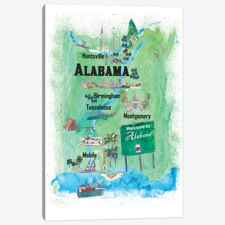 USA, Alabama Illustrated Travel Poster Canvas Print #MMB36} by Markus & Martina Bleichner Art Print