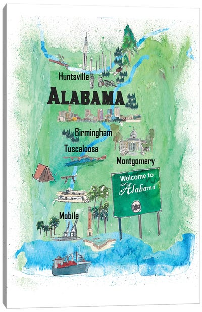 USA, Alabama Illustrated Travel Poster Canvas Art Print