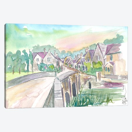 Castle Combe Cotswolds Bridge And Street In England Canvas Print #MMB375} by Markus & Martina Bleichner Canvas Artwork