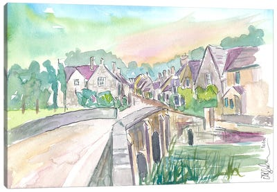 Castle Combe Cotswolds Bridge And Street In England Canvas Art Print