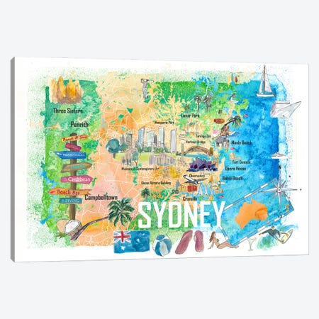 Sydney Australia Illustrated Map With Main Roads Landmarks And Highlights Canvas Print #MMB379} by Markus & Martina Bleichner Canvas Print