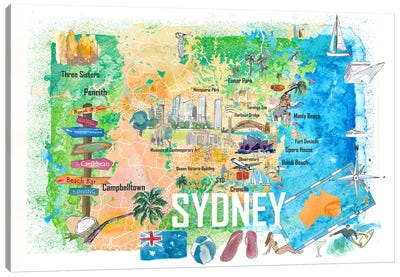 Sydney Australia Illustrated Map With Main Roads Landmarks And Highlights Canvas Art Print