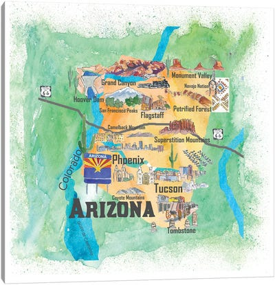 USA, Arizona Illustrated Travel Poster Canvas Art Print