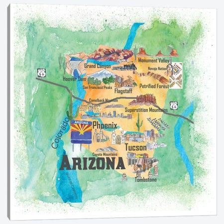 USA, Arizona Illustrated Travel Poster Canvas Print #MMB37} by Markus & Martina Bleichner Canvas Art Print