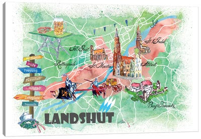 Landshut Bavaria Illustrated Map With Main Roads Landmarks And Highlights Canvas Art Print