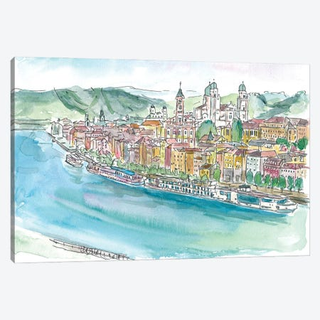 Passau Bavaria Pearl On Danube Canvas Print #MMB381} by Markus & Martina Bleichner Canvas Wall Art