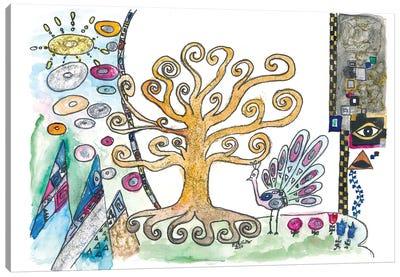 Klimt Inspired Golden Tree Of Life In Spring Canvas Art Print