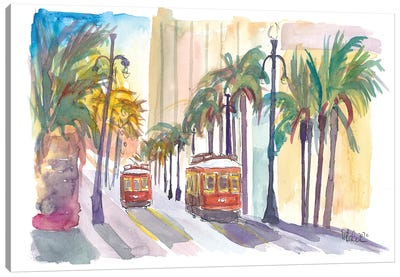 Street Cars In New Orleans Louisiana With Palms Canvas Art Print