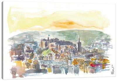 Edinburgh Scotland Street Scene With Castle At Sunset Canvas Art Print