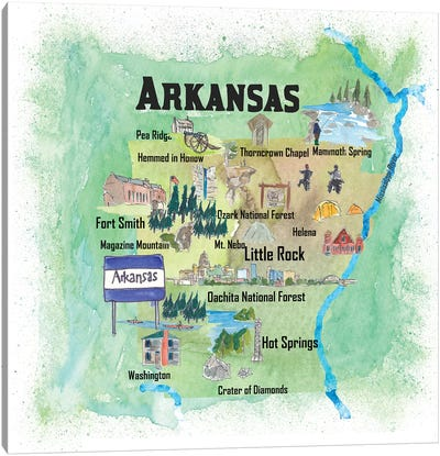 USA, Arkansas Illustrated Travel Poster Canvas Art Print