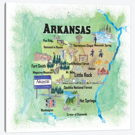 USA, Arkansas Illustrated Travel Poster Canvas Print #MMB38} by Markus & Martina Bleichner Canvas Wall Art