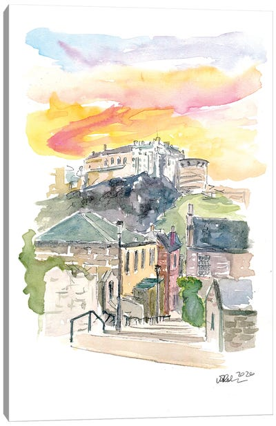 Edinburgh Scotland Street Scene With Castle At Sunset II Canvas Art Print