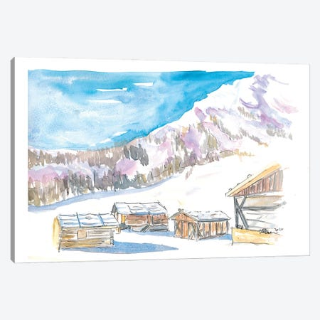 Rustic Alpine Mountains Huts In The Snow Canvas Print #MMB397} by Markus & Martina Bleichner Canvas Art