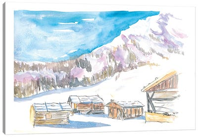 Rustic Alpine Mountains Huts In The Snow Canvas Art Print