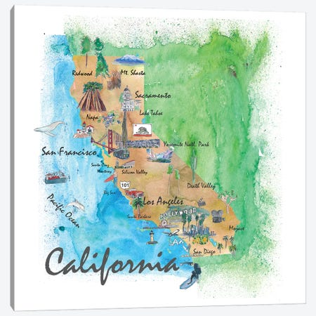USA, California Travel Poster Canvas Print #MMB39} by Markus & Martina Bleichner Canvas Art